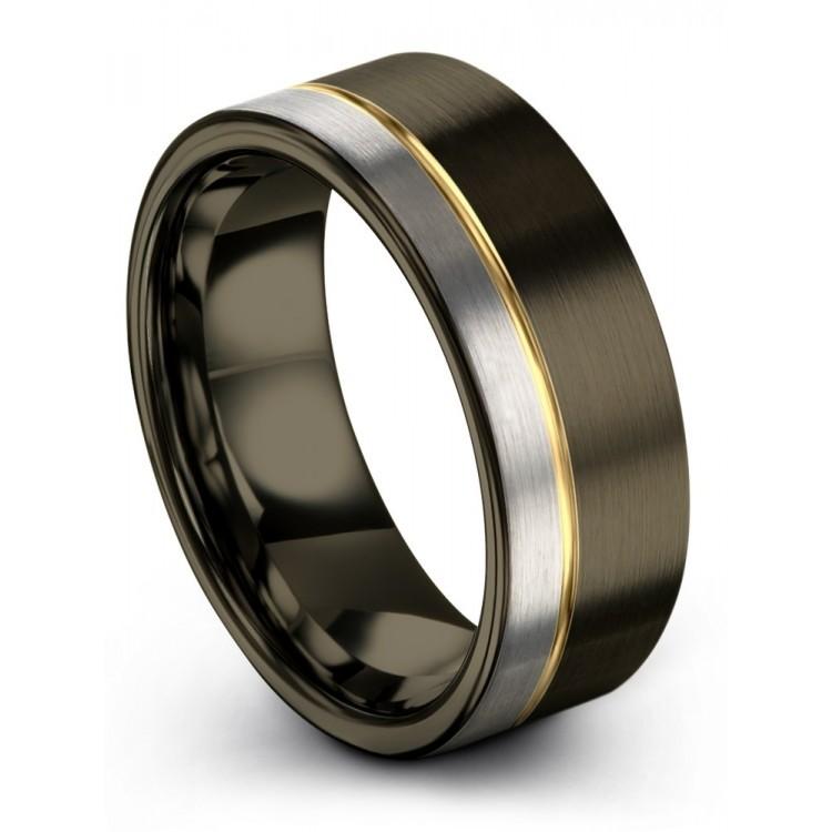 Moonlit Graphite Galena Gray Yellow Gold 8mm Wedding Rings