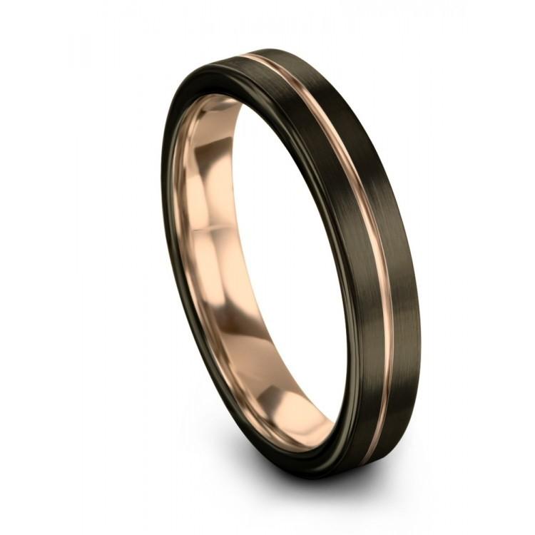 Moonlit Graphite Rose Gold 4mm Wedding Ring