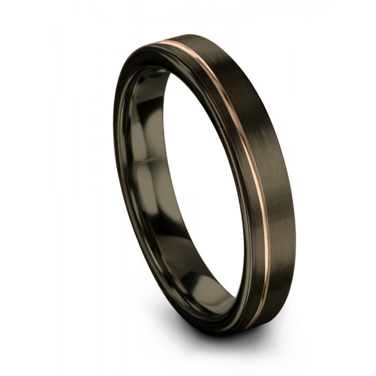 Moonlit Graphite Rose Gold 4mm Wedding Rings
