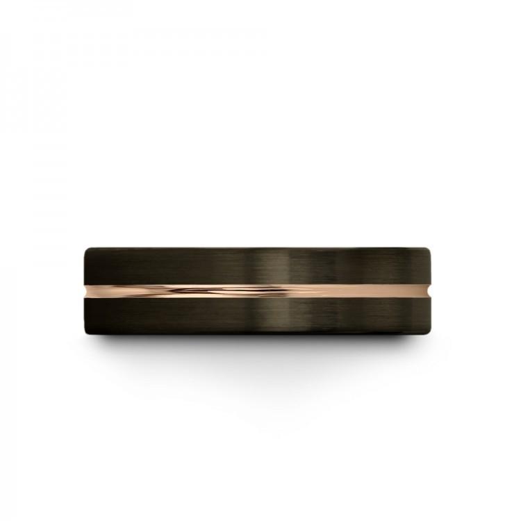 Moonlit Graphite Rose Gold 6mm Unique Wedding Ring