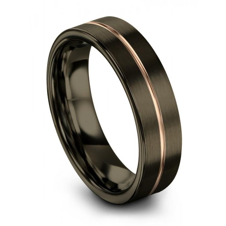 Moonlit Graphite Rose Gold 6mm Wedding Ring