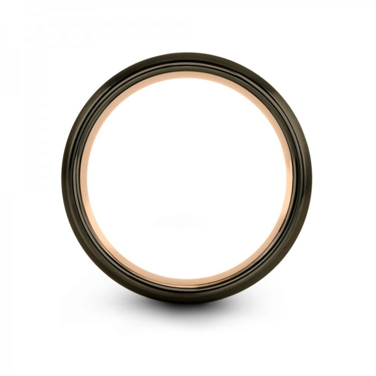 Moonlit Graphite Rose Gold 8mm Couple Unique Wedding Band
