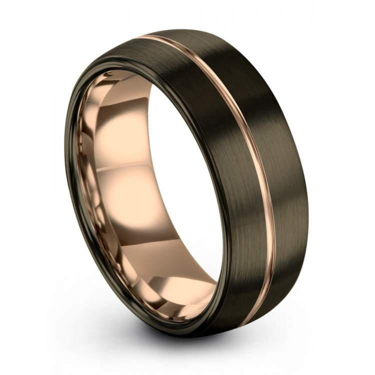 Moonlit Graphite Rose Gold 8mm Couple Wedding Ring