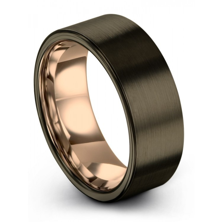Moonlit Graphite Rose Gold 8mm Couple Wedding Rings