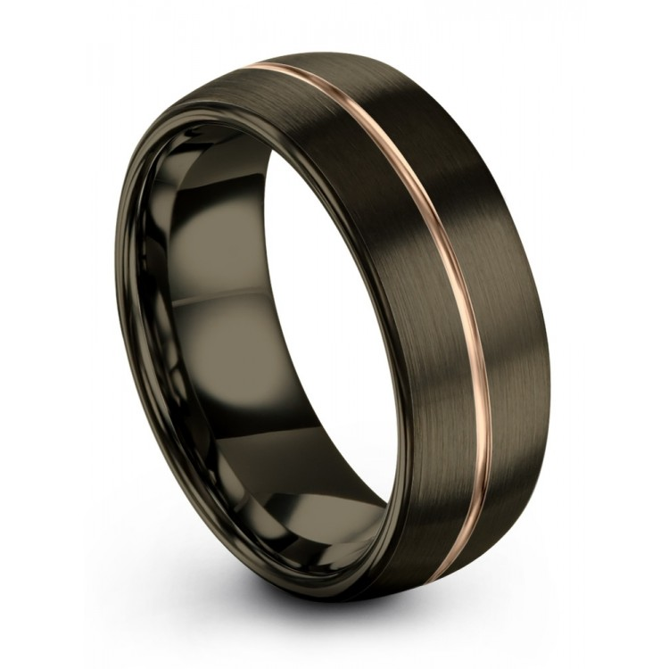 Moonlit Graphite Rose Gold 8mm Fancy Wedding Ring