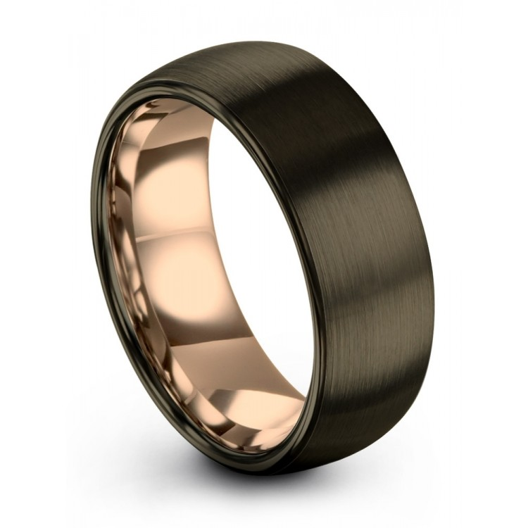 Moonlit Graphite Rose Gold 8mm Latest Couple Wedding Rings