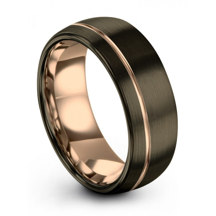 Moonlit Graphite Rose Gold 8mm Latest Wedding Ring