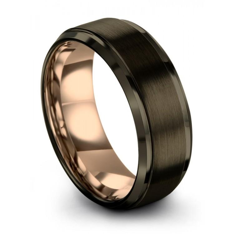 Moonlit Graphite Rose Gold 8mm Latest Wedding Rings
