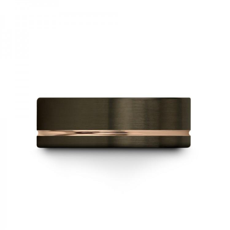 Moonlit Graphite Rose Gold 8mm Unisex Unique Wedding Rings