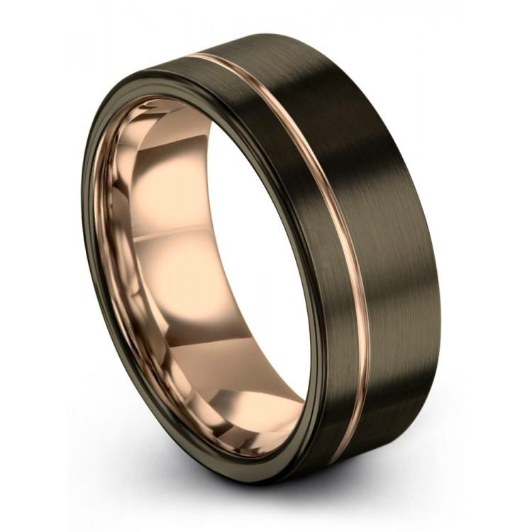 Moonlit Graphite Rose Gold 8mm Unisex Wedding Rings
