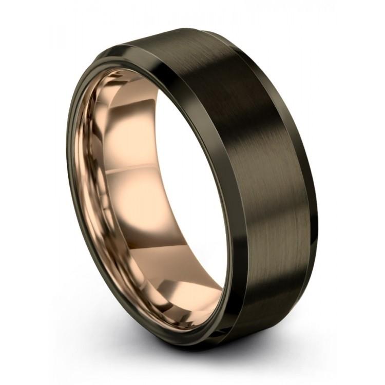 Moonlit Graphite Rose Gold 8mm Wedding Rings