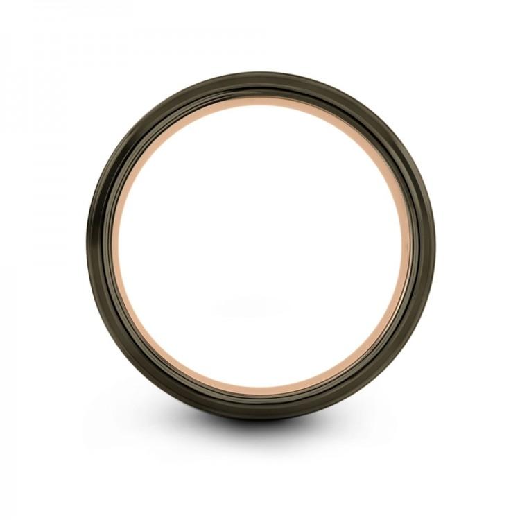 Moonlit Graphite Rose Gold 8mm Women Latest Wedding Rings