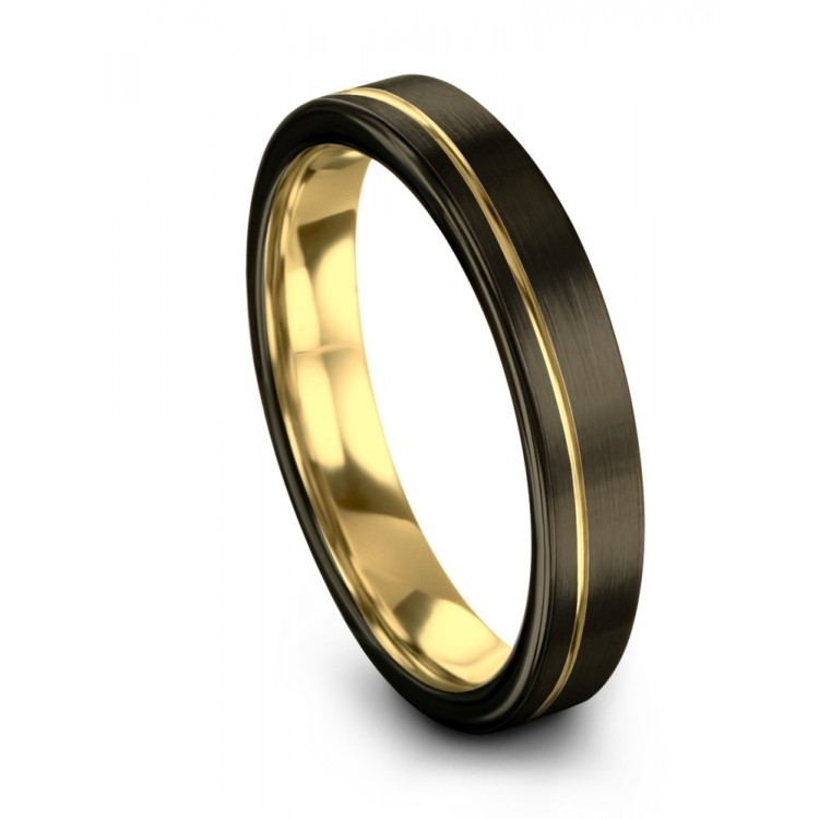 Moonlit Graphite Yellow Gold 4mm Wedding Ring