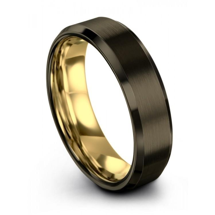 Moonlit Graphite Yellow Gold 6mm Wedding Ring