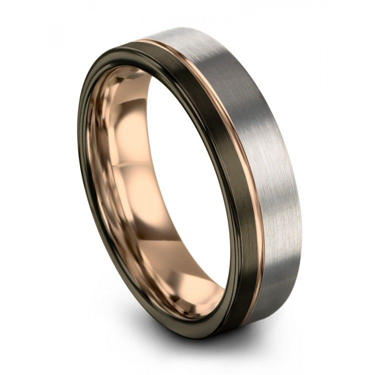 Moonlit Graphite Yellow Gold 8mm Couple Wedding Rings