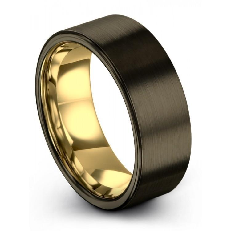 Moonlit Graphite Yellow Gold 8mm Unisex Wedding Rings
