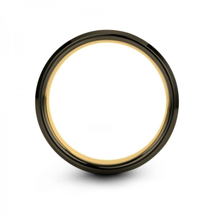 Moonlit Graphite Yellow Gold 8mm Wedding Band