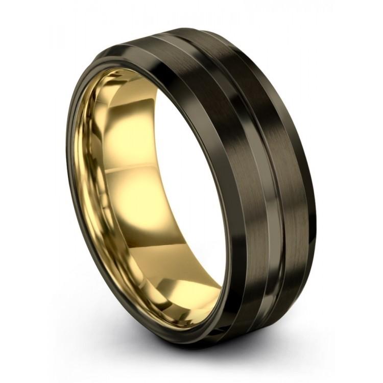 Moonlit Graphite Yellow Gold 8mm Wedding Ring