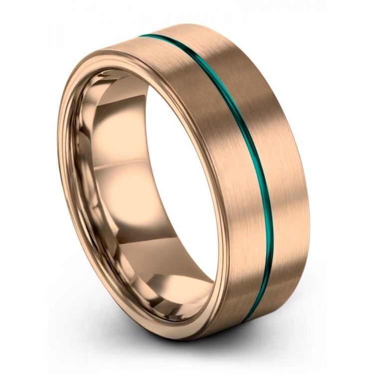 Rose Gold Aqua Teal 8mm Wedding Ring