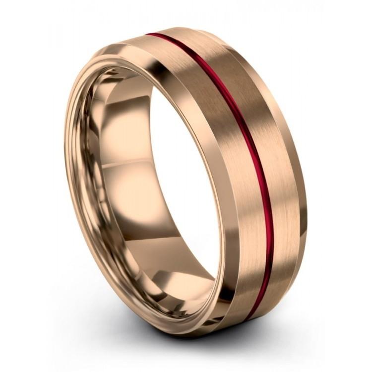 Rose Gold Crimson Allure 8mm Latest Wedding Ring