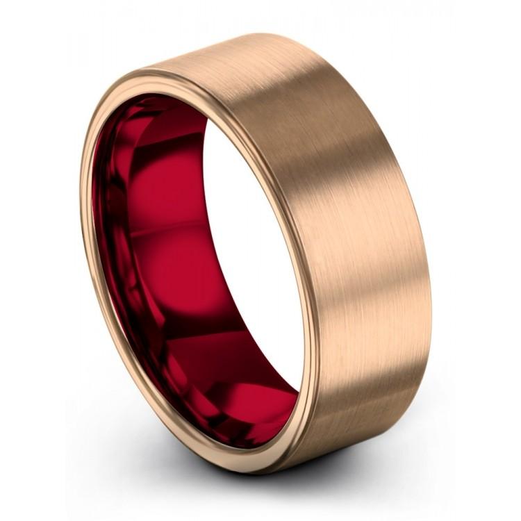 Rose Gold Crimson Allure 8mm Wedding Ring