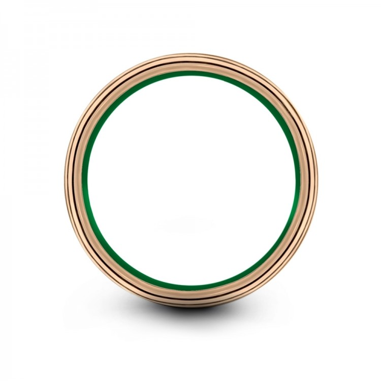 Rose Gold Emerald Zing 8mm Mens Wedding Band