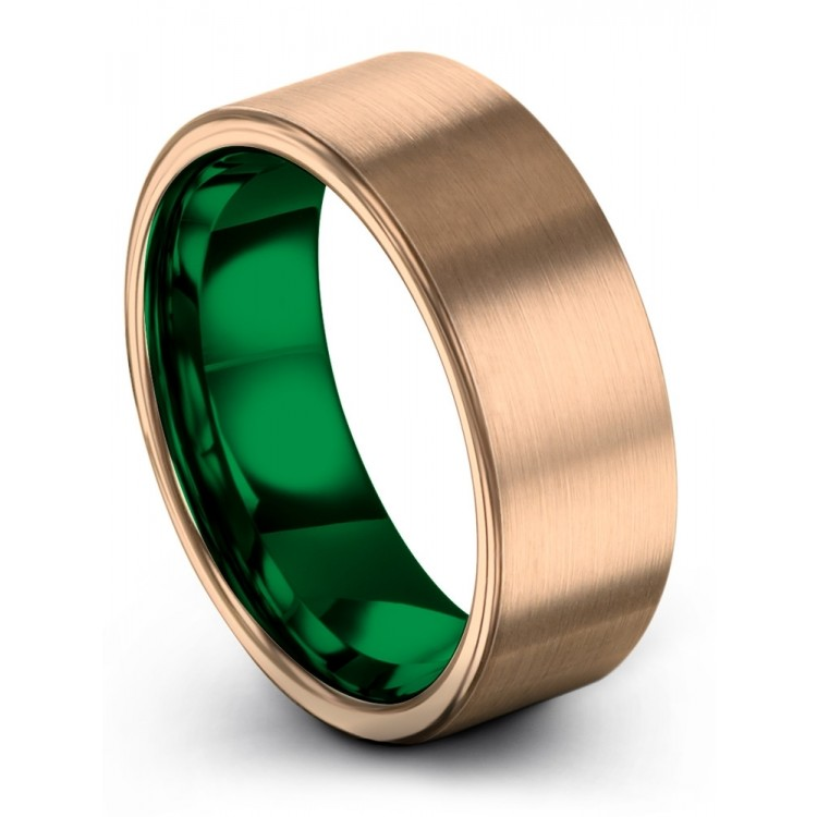 Rose Gold Emerald Zing 8mm Wedding Ring
