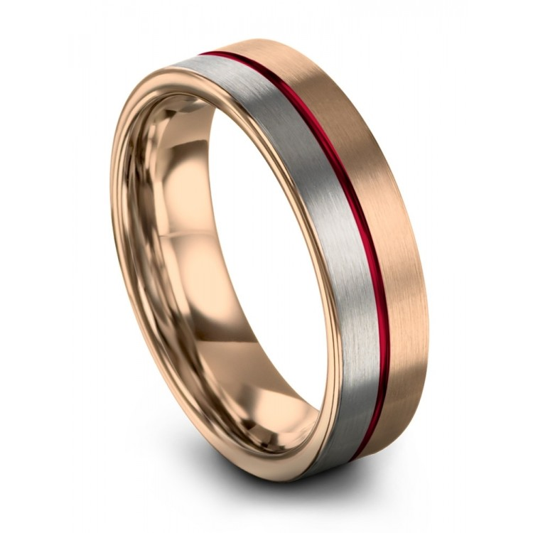 Rose Gold Galena Gray Crimson Allure 6mm Wedding Ring