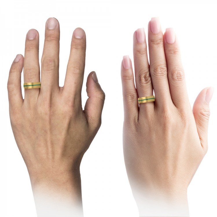 Yellow Gold Aqua Teal 8mm Unique Wedding Bands