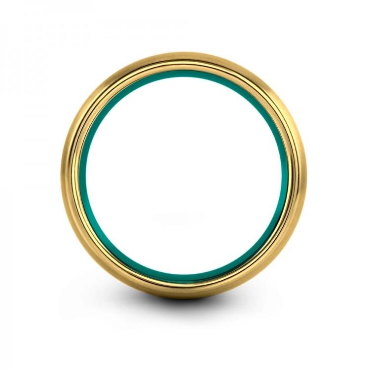 Yellow Gold Aqua Teal 8mm Unique Wedding Ring