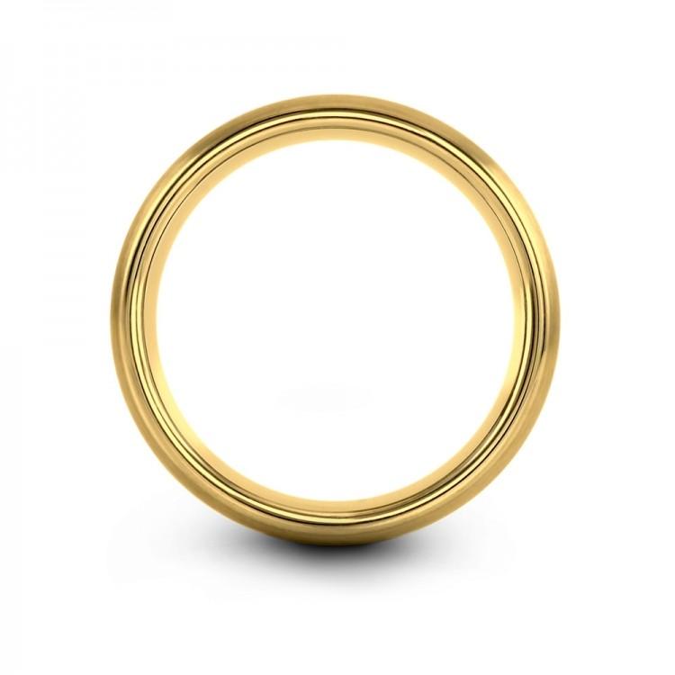 Yellow Gold Aqua Teal 8mm Unique Wedding Rings