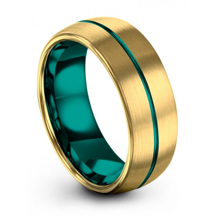 Yellow Gold Aqua Teal 8mm Wedding Ring
