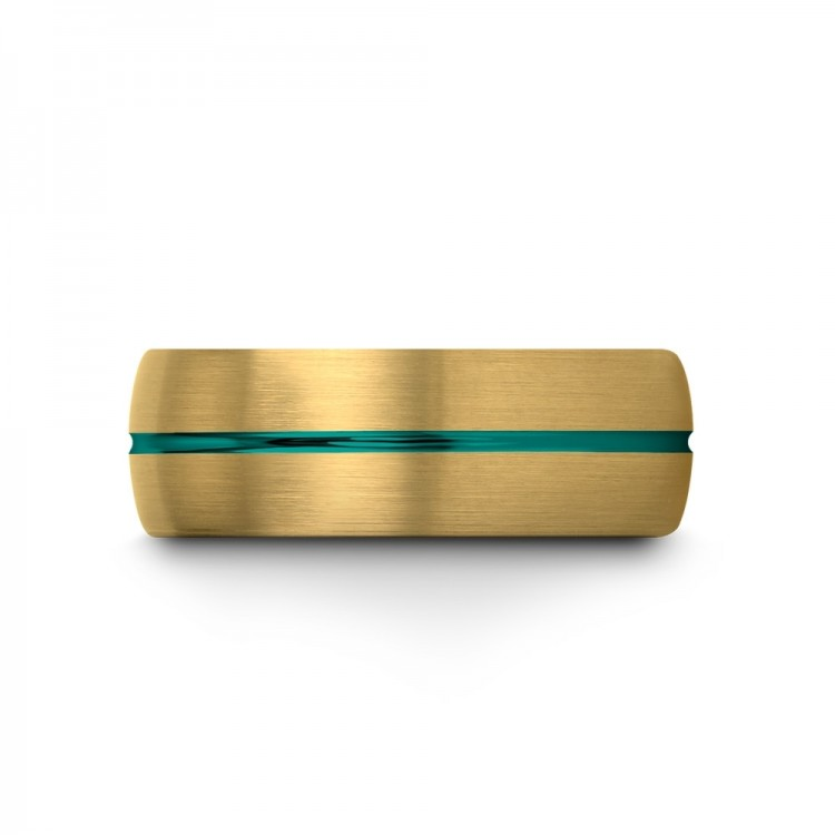 Yellow Gold Aqua Teal 8mm Women Wedding Ring