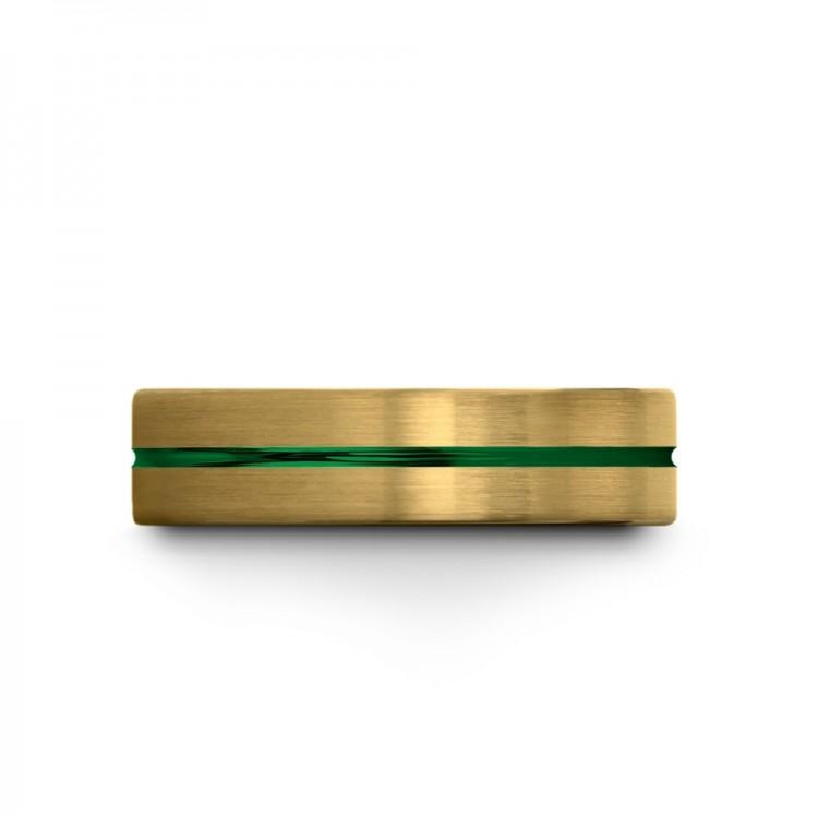 Yellow Gold Emerald Zing 6mm Mens Wedding Band