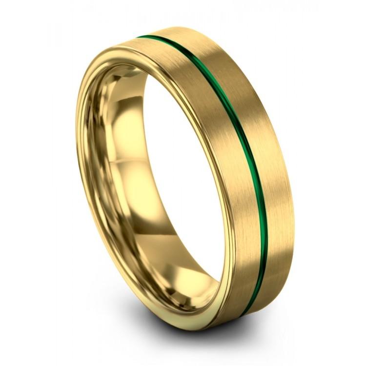 Yellow Gold Emerald Zing 6mm Wedding Ring