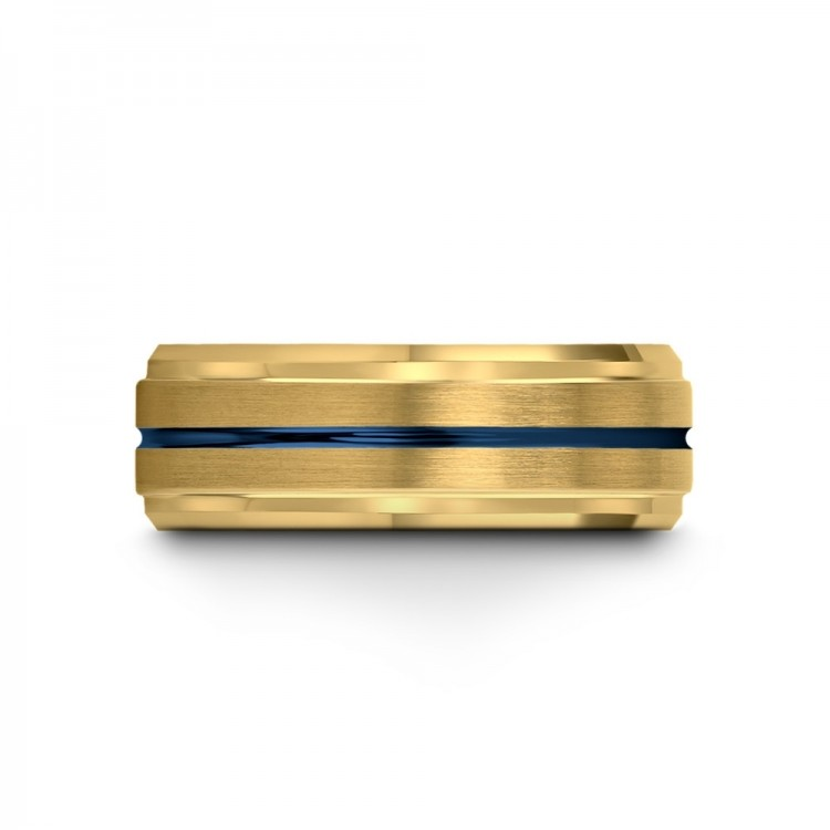 Yellow Gold Empire Blue 8mm Fancy Mens Wedding Band