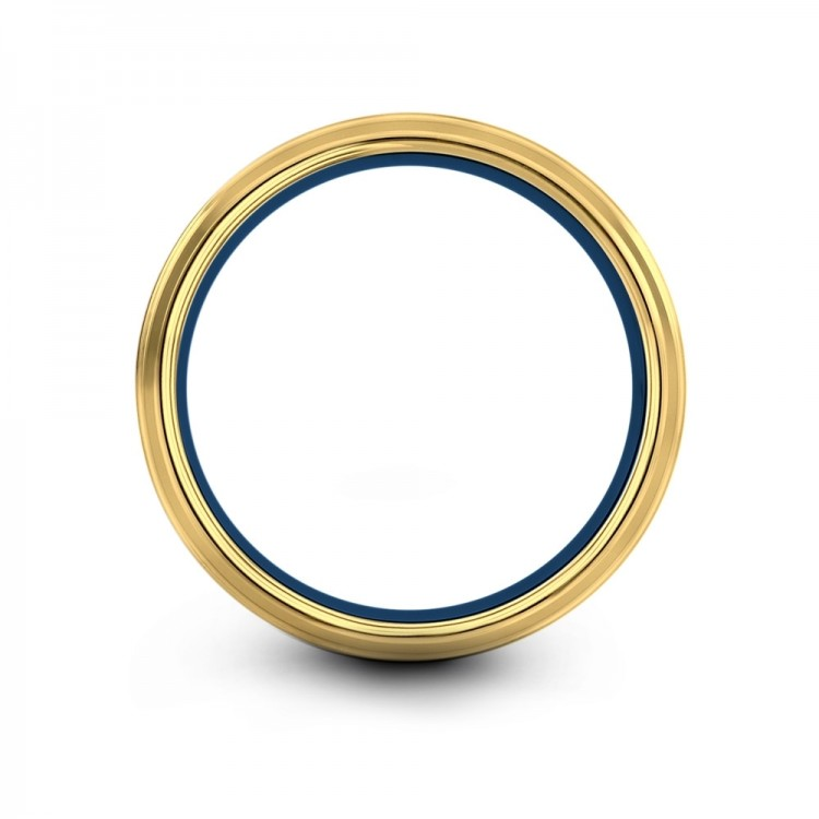 Yellow Gold Empire Blue 8mm Fancy Wedding Ring